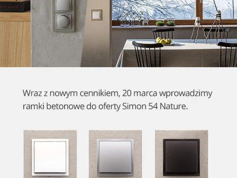 Nowość! Ramki betonowe w serii Simon 54 Premium